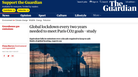 """Lockdowns or the planet gets it? Guardian """"accidentally"""" suggests Covid-like shutdowns every 2 years to meet Paris climate goals"""