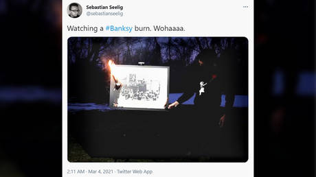Is that for real? Group BURNS Banksy artwork to make its existence completely digital (VIDEO)