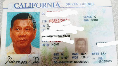 Is that you, Rodrigo? California driver caught using fake license with photo of Philippines president