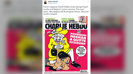 'Wrong on every level': Charlie Hebdo condemned for 'disgusting' cartoon making fun of royals, Meghan Markle and George Floyd