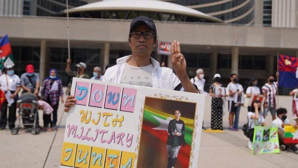 Protest in Toronto against Military Coup in Myanmar