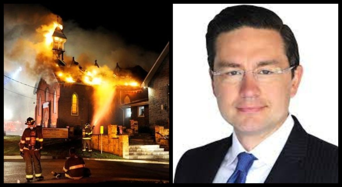 'Disgusting attack': Pierre Poilievre SLAMS far-left extremists for burning down churches