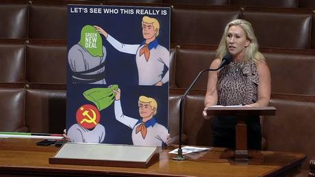 'This is a parody account, right?' Marjorie Taylor Greene ridiculed for bringing Scooby-Doo meme to US Congress